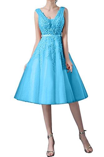 Ivydressing Damen Traumhaft Spitze Kurz Abendkleider Tuell Brautjungfernkleid Ballkleider Blau