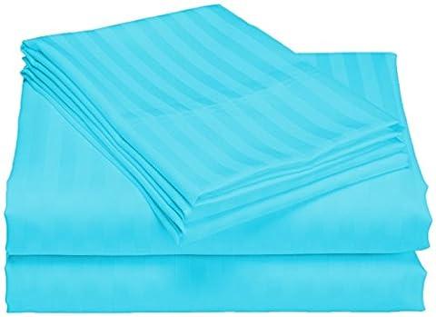 scalabedding Tasche Tiefe 100% ägyptische Baumwolle 500TC 58,4cm Blatt–Komplettset XXL Roben, Gestreift, Blau