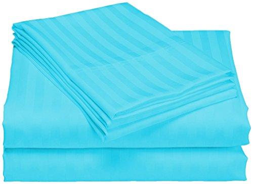 scalabedding 100% ägyptische Baumwolle 6Stück 800TC 76,2cm Deep Pocket Sheet Set-Twin XL türkis gestreift (Türkis Blätter Twin Xl)