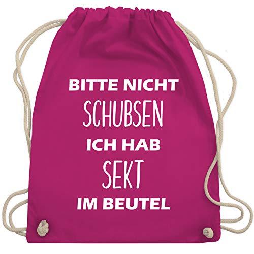 Turnbeutel - Bitte nicht schubsen ich hab Sekt im Beutel - Unisize - Fuchsia - WM110 - Turnbeutel & Gym Bag