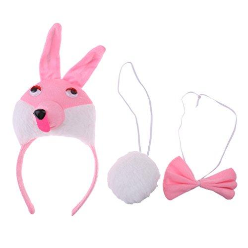 chiwanji Kinder Tier Bunny Piggy Lion Kalb Kostüm Kit Kopf Band Fliege Schwanz Kostüm - Rosa (Bunny Kostüm Kit)