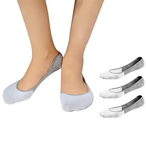 Antimikrobielle Waschen (RedMaple Unsichtbare Bambus Socken für Damen - 3 Paar Socken mit Ultra Tiefem Schnitt unsichtbar Lässige Füsslinge mit rutschfestem Silikon Grip)