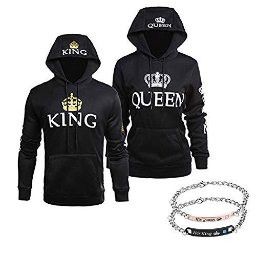 Stephaee Partner Pärchen King Queen Sweatshirt Pärchenpullover Hoodie Damen Herren Kapuzenpullover (Schwarz/Pullover+Armband, Herren L +Damen M)