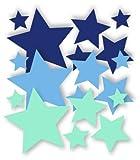 30 Stück selbstklebende Sterne Autoaufkleber, Mix-Set blau, lichtblau, mint, Fensterdekoration Fensterbild / Fensteraufkleber, Wandtattoo Deko Sticker, Weihnachtsdekoration, Schaufenster In- und Outdoor 62s1
