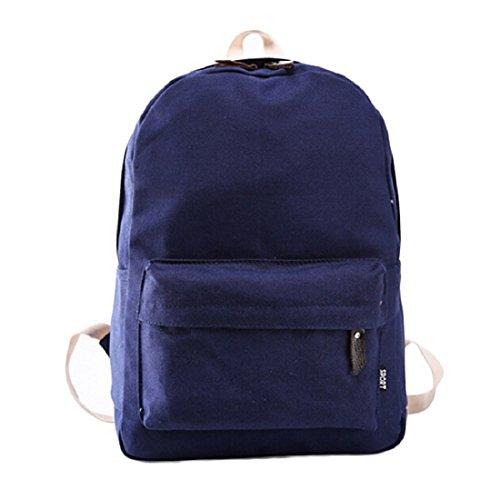 Tongshi Bolso de las mujeres de la escuela bolsa de mano de la muchacha Mochila Mochila viaje (azul