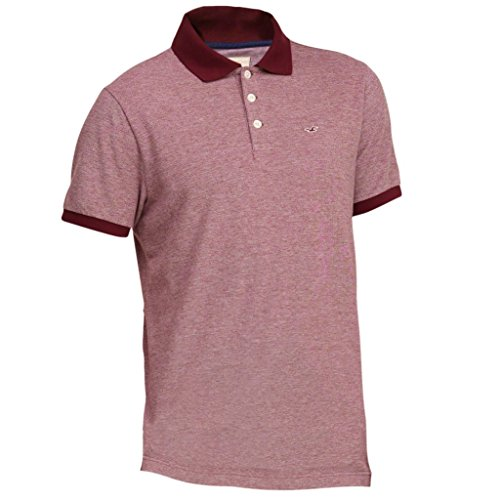 hollister-homme-patterned-tipped-pique-polo-top-shirt-courte-taille-large-burgundy-texture-623319237