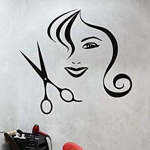 JXMN Lange Haare Frau Schere Muster kreative Friseur Friseursalon Dekoration Aufkleber 42x48cm -