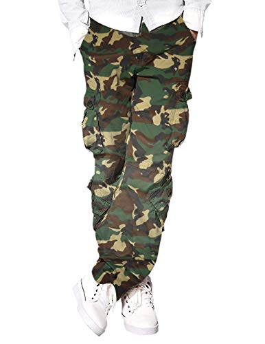 Eshal Fashion Herren Cargo-Hose Militärische Armee Freizeithose Chino Field Outdoor Hose Ranger Herren Workwear 8 Taschen Hose (34-W / 86-cm, ArmyCamo)