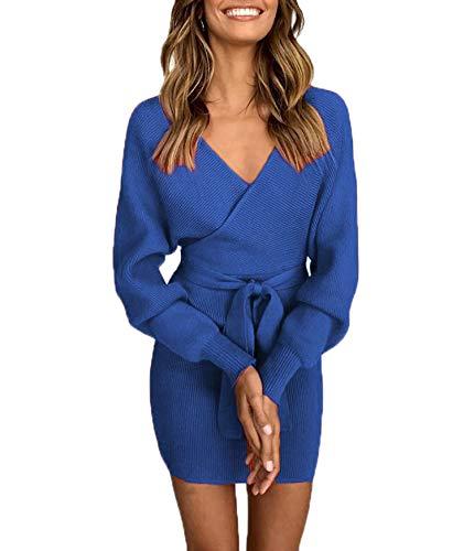 Ajpguot Damen Elegant Tunika Kleid aus Strick Pullover Dress Kurz Kleider Bodycon V-Ausschnitt...