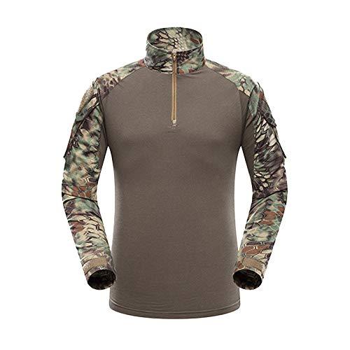 Yuandian uomo tattico esercito mimetici uniforme set tuta maniche lunghe caccia camicie magliette combat pantaloni escursionismo campeggio all'aperto verde python pattern shirt l