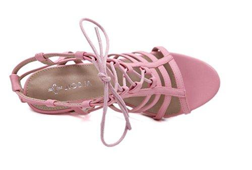 GLTER Cinturino Donne Pumps estate Single-Tide nuova sezione e ad alta serrati Hollow sandali dei pattini di pigolio scarpe a punta Scarpette Pink