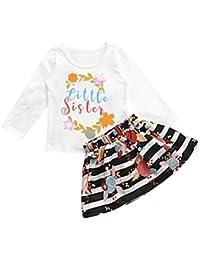 K-youth® Ropa Bebe para 1-5 años Little sister Carta de los niños camiseta + Rayas florales Conjunto de falda Vestido de falda Vestidos Niña Fiesta Barata 2018 Ofertas