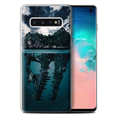 eSwish Gel TPU Hülle/Case für Samsung Galaxy S10 / Tropische Insel/T-Rex Muster/Dinosaurier Jurassic Earth Kollektion T-rex-mobile Handy