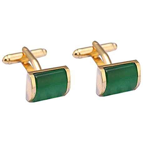 Westeng 1 par de Gemelos de Acero inoxidable Botones para Accesorios de la Camisa Color Verde