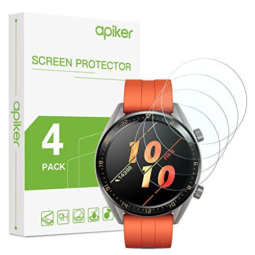 apiker [4 Stück] Schutzfolie für Huawei Watch GT Active, Huawei Watch gt Ative Panzerglas mit 9H-Härte, Kratzfest, blasenfrei, hohe Definition, hohe Empfindlichkeit