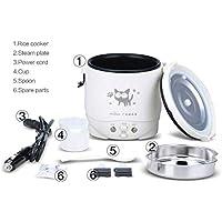 IronHeel 1L Mini Arrocera Olla Arrocera automática arroz eléctrica con el patrón del Gato Lindo para el arroz cocido al Vapor Sopa de gachas de Huevo, el Uso del automóvil 24V