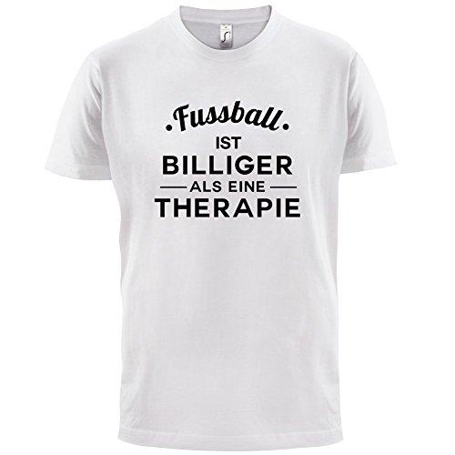 Fussball ist billiger als eine Therapie - Herren T-Shirt - 13 Farben Weiß