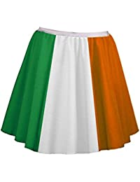 "Ladies 18"" Irish Flag Skater Panel Skirt Plus Size St Patricks Day Fancy Dress"