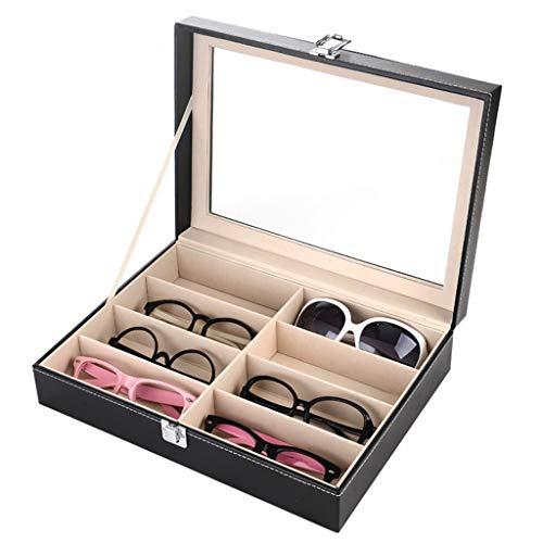 Brillen Sonnenbrillen Organizer Collector/Kunstleder 8-Slot Brillen Display Aufbewahrungsbox Organizer-Schwarz