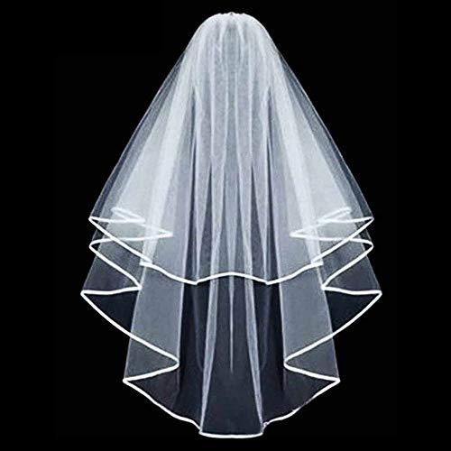 Lomire JGA deko Accessoires für den Junggesellinnenabschied Hochzeit, Braut Dusche, Tiara, Schärpe, weißer Schleier mit Kamm für Braut to be, Team Braut (Schleier) -