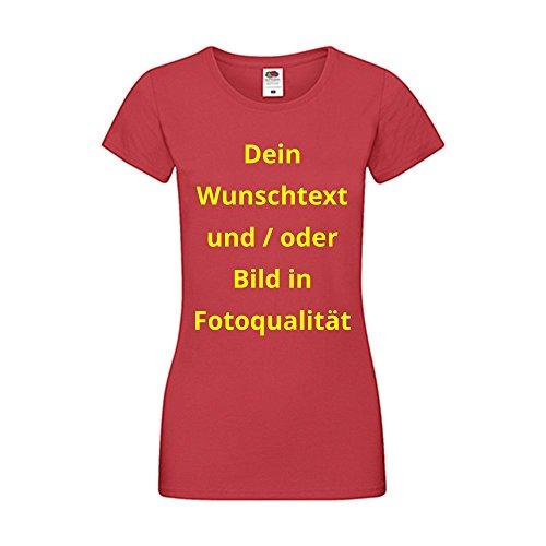 Damen T-Shirt Bedrucken - Text und Bild individuell auf Ihr T-Shirt Drucken Lassen   Personalisiert Farbe Rot, Größe L