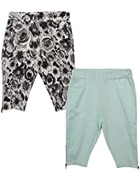 Lil Orchids Girls Pack of 2 Casual Knee Length Pant(LO-2PCK-WVN-CPR-CMB-10)