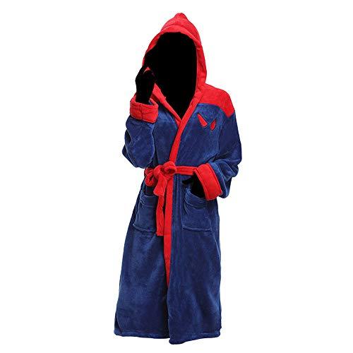 DISCOUNTL Erwachsene Bademantel Coral Fleece Spiderman Nachthemd Home Service Kapuzenbademantel Baumwolle Nachthemd für Frauen Bademäntel für Frauen Gr. Einheitsgröße, Bildfarbe