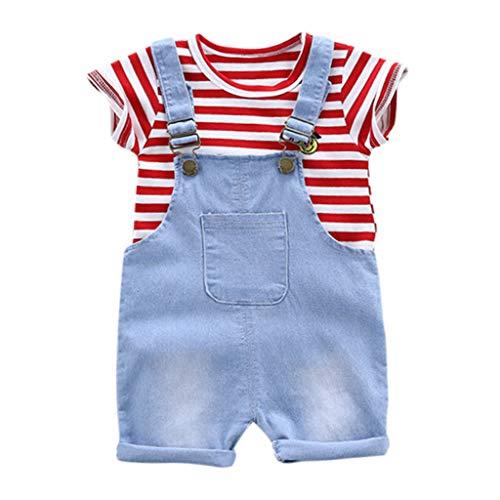 JERFER Blusen Und Hose Set Mädchen Kleinkind-Streifen-T-Shirt übersteigt die eingestellte Kleidung der Hosenträger-Hosen-2pcs