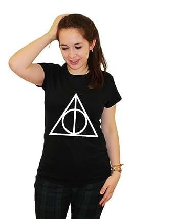 21 Century Clothing Damen deathly circle triangle wizard witch Symbol T-Shirt - Schwarz XX-Large