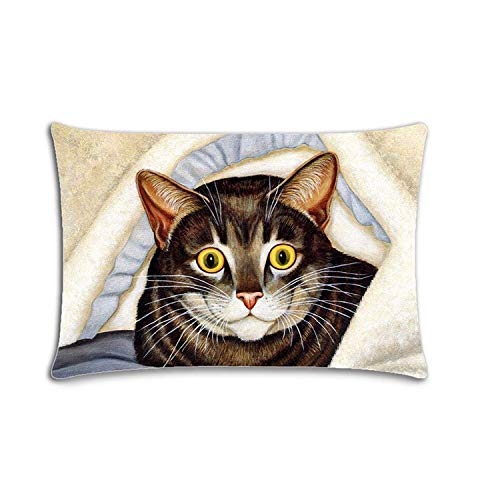 Custom|Cat Under The Quilt Zippered Cushion Cases Throw Pillow Cover 20x30 Twin Sides -