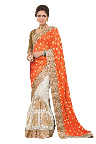 Chirag Sarees Synthetic Saree (2440-D_Orange)