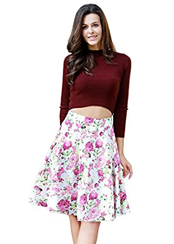 Women's Vintage Floral Swing Full Circle Pleated Skirts