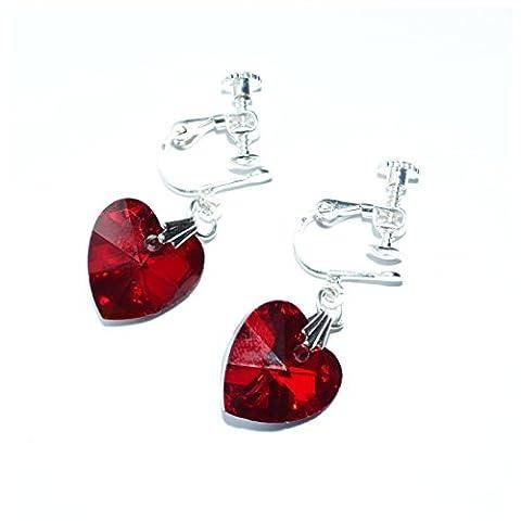 Pretty Clip On Earrings Girls Non Pierced Earrings (Aura Angel Heart)