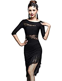 Zhhlaixing Vestiti da Ballo Latino Donna Pizzo Traforato Top+ Gonna Nappa -  Adulto Sexy Slim Dancewear Ballroom Festa Prestazione Pratica… 2f60db3ad98