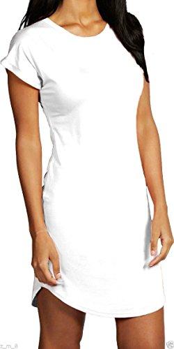 Damen Hip Länge gebogener Saum Rolle Sleeve Turn Up T-Shirt Kleid Uni Weiß