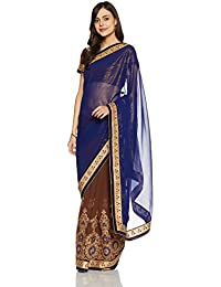 Womanista Women's Embroidered Faux Georgette Saree with Blouse Piece
