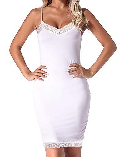 Auxo Damen Lingerie Babydolls Sommer Nachtwäsche Dessous Set Nachthemd Spaghetti Kleid 05- Weiß Etikettgröße 2XL - Über Knie Hoch, Spitze