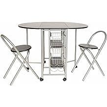 ts-ideen Juego de 3 piezas comedor mesa y sillas para la cocina marco de metal MDF plata y negro 79 x 100 con ruedas