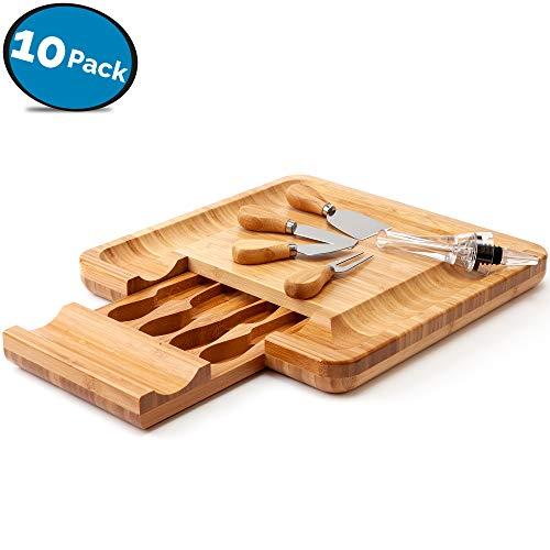 Tabla de quesos, aireador de vino, juego de cubiertos y 4 posavasos de vino de LVKH (juego de 10 piezas)