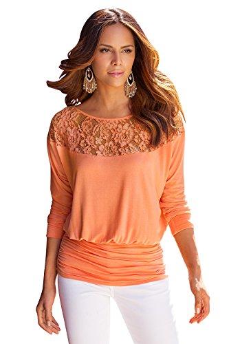 BOMOVO Damen Langarmshirt Bluse mit Tops Floraler Spitze von der Schulter Orange