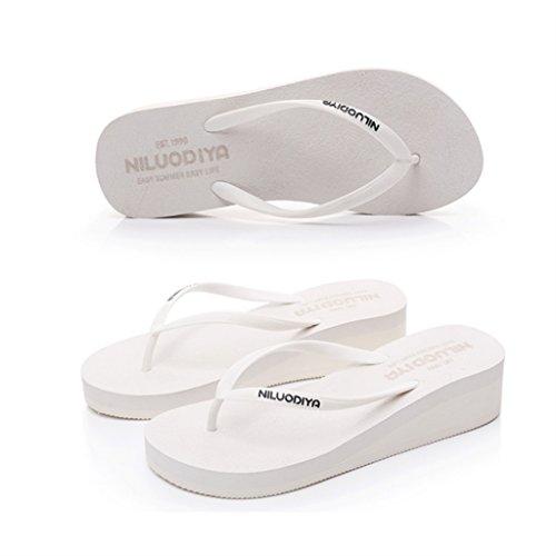 ALUK- Eté - pente avec le mot glisser le fond de la plage sandales pieds chaussons cool ( Couleur : Blanc , taille : 36-Shoes long230mm ) Blanc