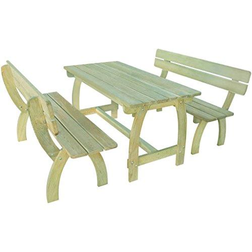 Furnituredeals Banc de jardin set de 3 pièces en bois imprégné de pin.Ce lot de haute qualité sont robuste et résistant.Idéal pour jardins et extérieur