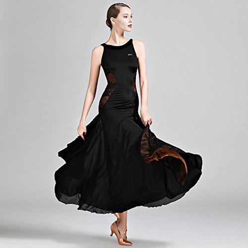 el Velvet Ballroom Dance Dress Modern Dance Dress Tango und Walzer Tanz Kleid Tanzwettbewerb Rock Nicht-Ärmel Spitzentanz Kostüm,Black,XL (Swing Ballroom Tanz Kostüme)