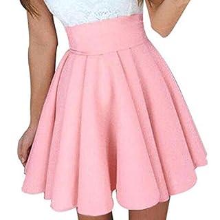 WSSB Womens Party Cocktail Mini Skirt Ladies Summer Skater Skirt Waist Detachable Belted Ladies Stretch Flared Flippy Short Skater Jersey Mini Skirt (L, Pink)
