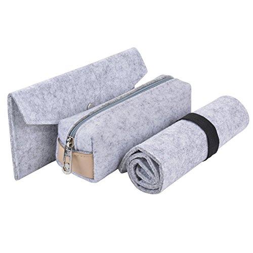 3Stück Bleistift Fall groß Kapazität Soft Filz Bleistift Halter Cosmetic Pouch Bag Grau Hellgrau (Modular-box-system)
