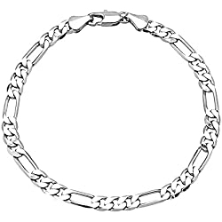 Shining Jewel Silver Brass Strand Bracelet For Men