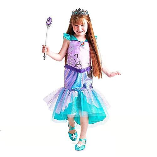 ROCK1ON Märchen Prinzessin Meerjungfrau Kleidung für Mädchen Kinder Halloween Karneval Rollenspiel Kostüm Weihnachten Tanzparty Cosplay Geschenk Geburtstag Alter 4-12,Blau,M (Kostüm Flügel Konstruktion)