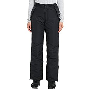 Ultrasport Women's Ski Pants Arlberg - Thermal Polyfill Padding with Elastic Snow Guard and Adjustable Waistband - Water and Windproof Padded Ski Pants, Black, M
