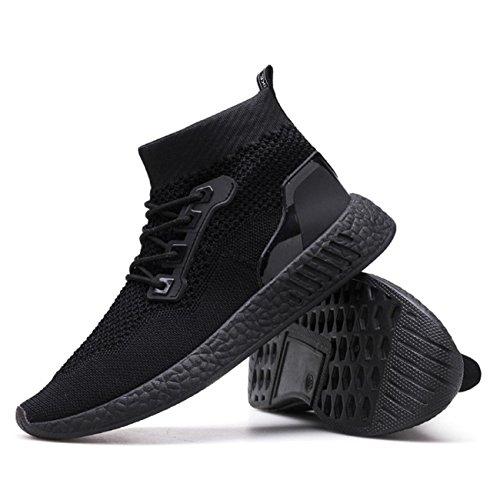 Chaussures Homme 2018 Nouveau Style Mode Haute Aide Doux Sole Chaussures de Course Gym Chaussures Chaussettes Chaussures (39, Noir)
