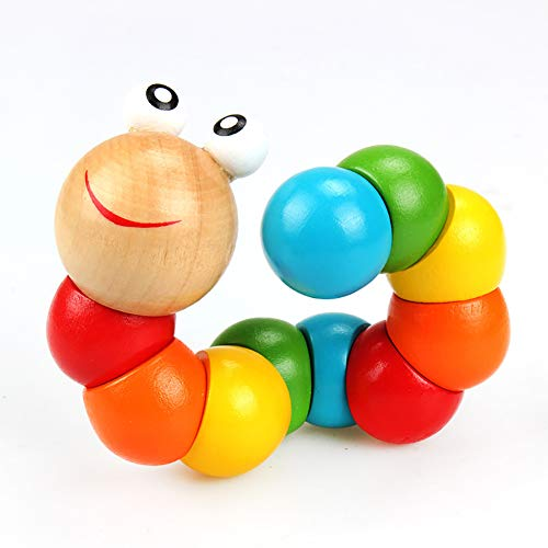 Gifts for Christmas New Year, Colorful Wooden Worm Puzzle Kids Early Learning Educational Toy Finger Game - Multicolor